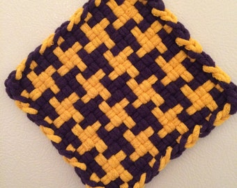 Small yellow and purple potholder