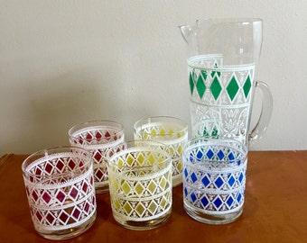 Vintage Pitcher Set - Multi Colored Glass Pitcher Set - Hollywood Regency - Diamond Pattern Glassware - Mid Century Pitcher Set
