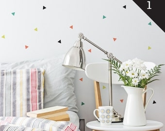 Confetti Triangles | Patterns Shapes Kids Nursery Decor | Removable Wall Decal Sticker | MS131PC