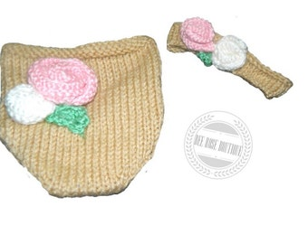Knitted diaper cover & headband set roses photo prop ANY COLOR