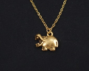hippo necklace, gold hippopotamus charm, hippo pendant, animal necklace, kid jewelry, zoo necklace, hippopotamus jewelry, gift for her