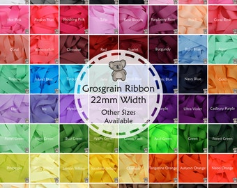 """Grosgrain Ribbon 1 3 or 5 Metre Cut of 22mm - (7/8"""") in 64 Plain Solid Colours"""