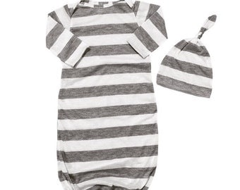 Grey baby gowns, Light weight, coming home outfit, soft, baby pjs, sleep sacks, babies, baby girl, baby boy, gender neutral, baby gift