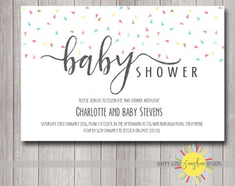 Printable Custom Baby Shower Invitation Neutral Boy or Girl Print your Own Triangle Confetti Gold Blue Pink