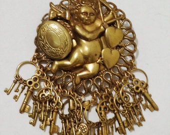 Free Shipping Brass Small Picture Locket, ANGEL CUPID BROOCH.