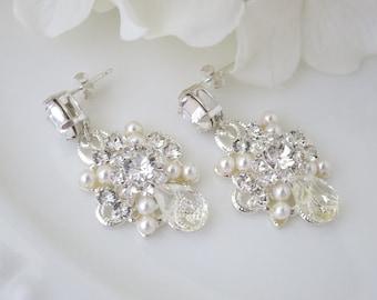 Vintage bridal earring, Swarovski rhinestone and pearl wedding earring, Crystal drop earring