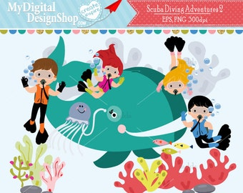 SCUBA Diver 2 Clipart, Vector EPS PNG Image, Boy Girl Diving, Under the Sea Animal Life, Kids Swimming, Whale Digital, Aquarium Summer |C033