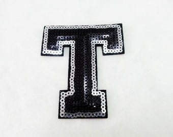 Alphabet Letter T Iron on Patch - Black Sequin T, Glitter Applique Embroidered Iron on Patch - Size 6.4x7.4 cm#T1