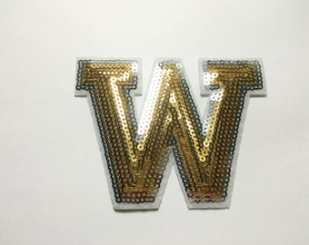 Alphabet Letter W Iron on Patch - Gold Sequin W, Glitter Applique Embroidered Iron on Patch - Size 9.5x7.3 cm#T2
