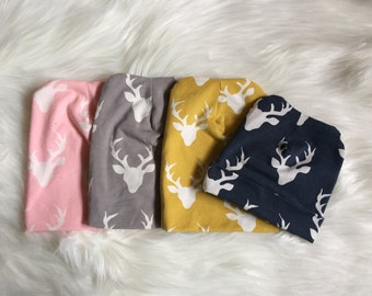 Stag slouch Beanie / Handmade / slouchie / Fold over / newborn - adults