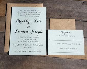 Rustic Wedding Invitations, Custom Color Wedding Invitation, Recycled Brown Kraft with Light Green, Wedding, Rustic, Custom Color Invitation