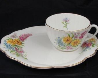 Windsor Fine China Floral Tea Cup & Snack Plate / Saucer Set