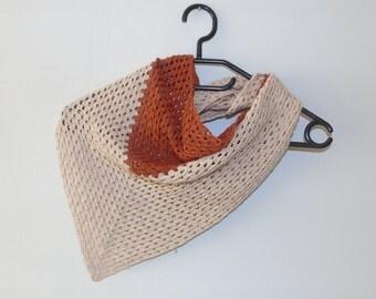 Small crochet triangular shawl, pure silk