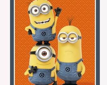 1 in a Minion Panel - 23988 by Quilting Treasures / Orange / Fabric Panel /Quilt Top