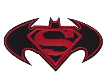 Batman Vs Superman Black and Red Embroidered Iron On Patch