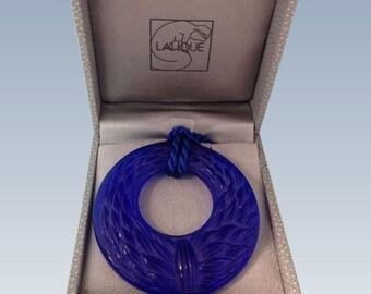 """Lalique """"Epis de Bles"""" Blue Crystal Pendant, Lalique France"""