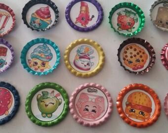 13 Shopkins multi-color bottle cap magnets party favor gift