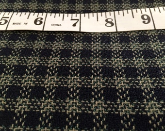 """Sale! Wool Check Fabric in Green and Black with Beige Accents 60"""" wide"""