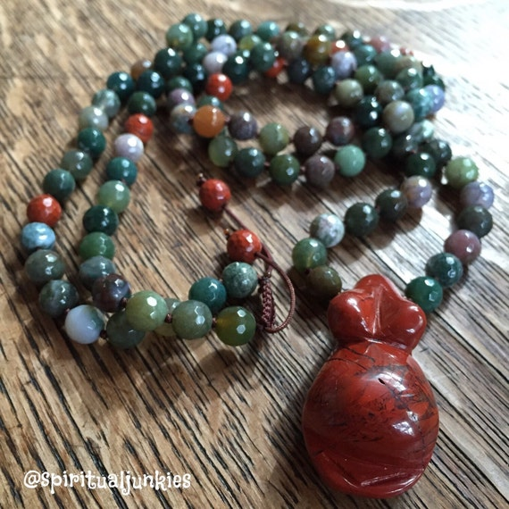 108 Bead Handknotted Faceted Indian Agate, Red Jasper + Red Jasper Goddess Belly Pendant Spiritual Junkies Yoga and Meditation Mala