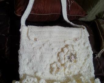 Crochet handbag messenger style Ivory Handbag Crochet Handbag