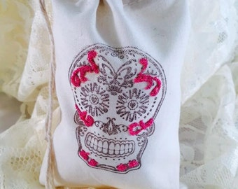 Sugar Skull Favor Bags - Sugar Skull Party - Sugar Skull Decorations - Day of the Dead Bags - Sugar Skull Candy Bar - Set of 10 - Customized