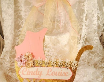 Baby Shower Hanger - Baby Shower Decor - Pink Gold - Newborn - Mom To Be - Hospital Door Decoration - Welcome Baby - Customized - Nursery