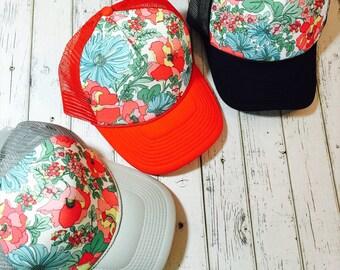 Best selling spring floral women's trucker hat, Cute girls hat, floral hat, womens hat, hat for girls, floral snapback