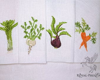 Set of 4 Machine Embroidery Designs - Vegetables