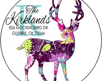 Christmas Round Return Address Labels, Plum Deer with Monogram