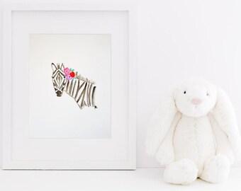 Zebra Watercolor Painting, 5x7/8x10