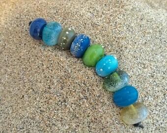 Blue Silk Scarf 9 Lampwork Beads  SRA