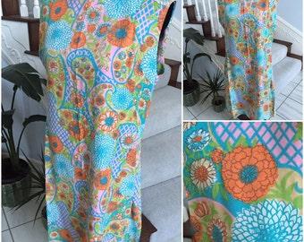 SALE Vintage Flower Power Summer Dress Large