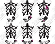 Halloween Pregnant Skeleton Costume with Boy Girl Bow Twins Cancer Ribbon Cutting File / Clipart: Svg Eps Dxf Jpeg for Cricut & Silhouette