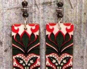 Rectangle Shape Up-cycled Cardboard Box Earrings, decoupage earrings