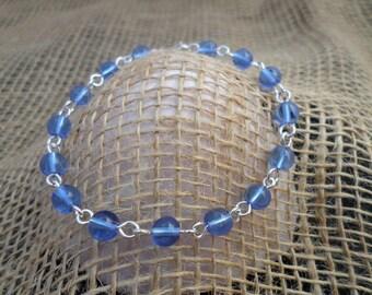 Blue Czech Druks Beads Sterling Silver Wire Bracelet