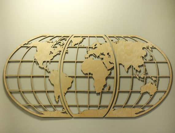 World Map Huge Wooden Wall Art Globe Wall Hanging -