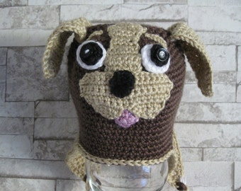 Crochet hat dog 12-18-24 Month