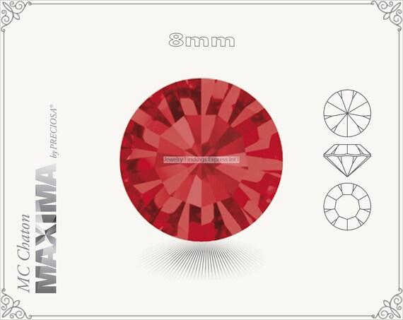 6 pc.+ SS39 (8mm) Preciosa MC Chaton MAXIMA - Light Siam Color