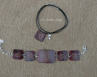 Cat & mouse Leather jewellery set, brown bracelet necklace, Hand tooled gift for little cat lover, kids jewellery, girl's gift