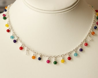 delicate colorful beaded necklace, small colorful beaded necklace, dainty beaded silver necklace, beaded necklace, colorful beaded necklace
