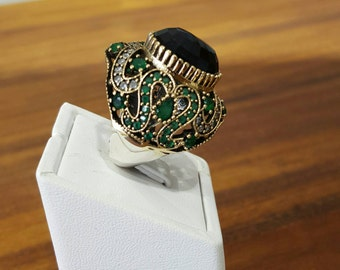 Ottoman  Style Ring With Emerald
