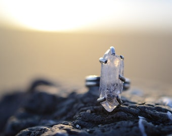 Quartz Crystal and Sterling Silver Statement ring