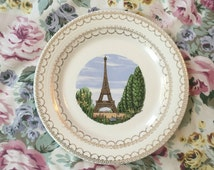 Vintage Limoges Eiffel Tower Plate - French Dish -  Le Tour Eiffel Paris France - Cottage Chic Spoon Rest - Triumph Capitols of Freedom 22k