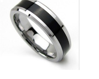 Personalized Men's Black Band Stainless Steel Wedding Band Engagement Ring - FREE Engraving