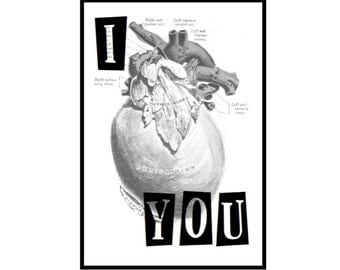 """Valentine Anatomical Heart Card - FREEShipping! """"I Heart You"""", Anatomy Love, Vintage Medical Illustration, Hand Crafted Valentine Card"""