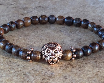 Mens Lion Bracelet,Wood Pearls Natural,Leo Bracelet,Basic Jewelry,Lion King for Men,Lion Head Bracelet,Mens Gift,Antique Copper Lion,Leo