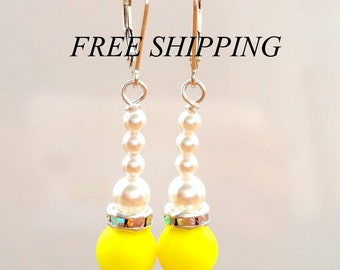 Swarovski 925 silver NEON yellow pearl earrings,pyramid earrings,  free shipping