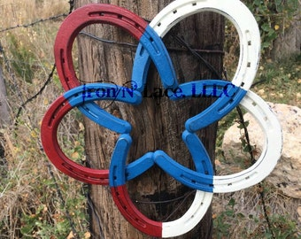 Red, white and blue horseshoe star wreath (may take up to 20 weeks for delivery)