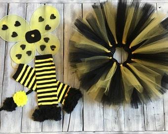 girls bumblebee outfit, bumblebee Halloween costume, bee costume, tutu, leg warmers, headband, bumblebee wings, bumblebee Halloween, costume