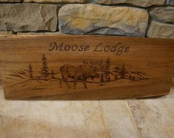 Rustic Wood Burned Moose Scene Welcome Sign